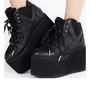 YRU Qozmo Hi 2 Black Adult Womens Platform Shoe